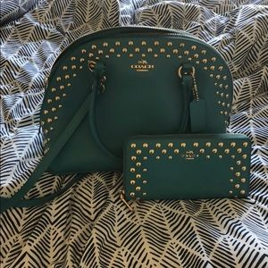 COACH Teal and Gold studded Crossbody WITH WALLET